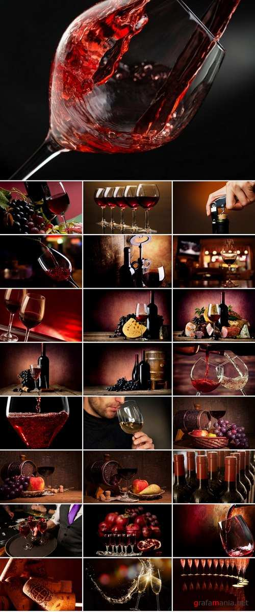 Collection of wine still life Red and white grape garnet glass barrel 25 HQ Jpeg
