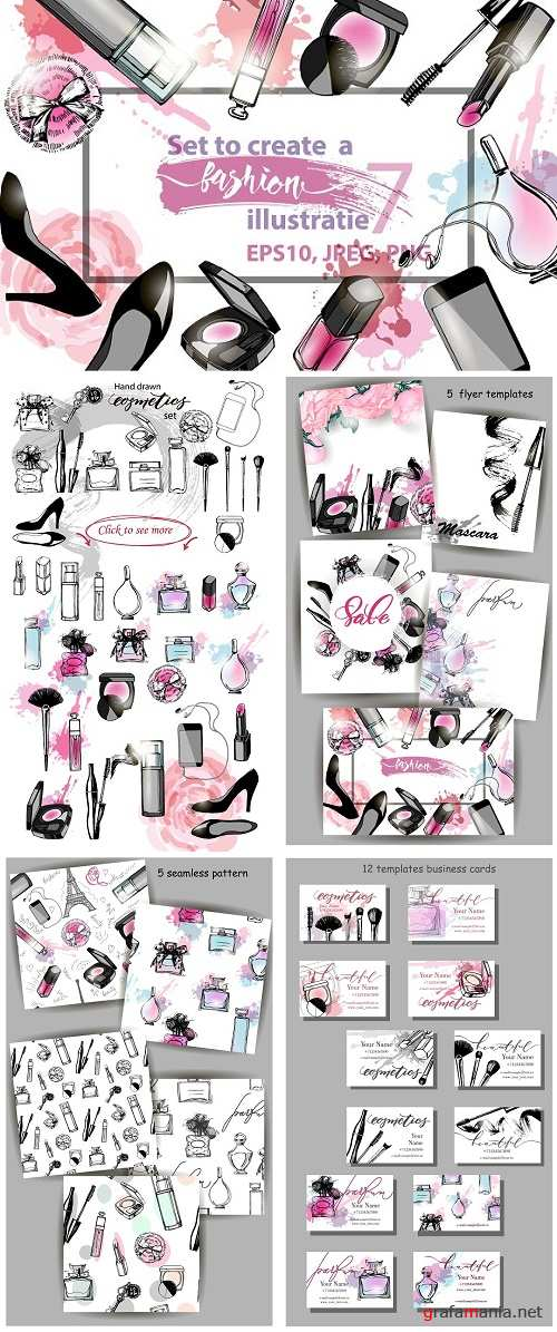 Set to create a fashion illustration - 973210