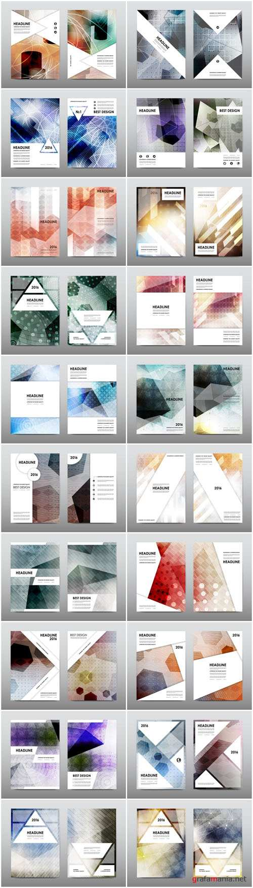 Magazine booklet cover, brochure layout template & abstract flyer design 5 - 20xEPS Vector Stock
