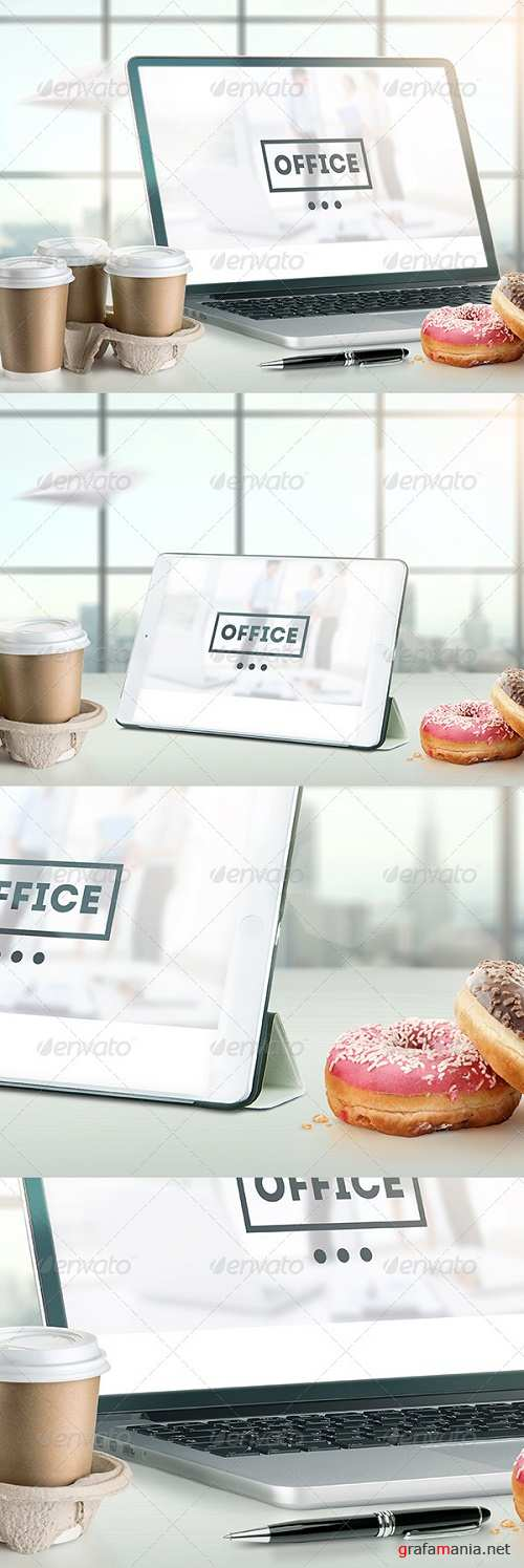 Mock-Up Laptop and tablet (PSD). Office style - 7255500