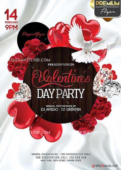 Valentines Day Flyer PSD V04 Template + Facebook Cover