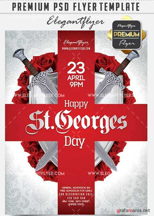 Happy St.Georges Day Flyer PSD V1 Template + Facebook Cover
