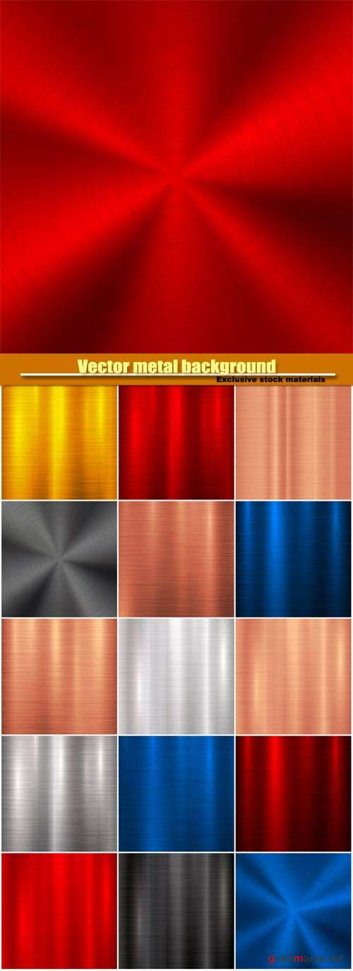 Vector metal background with abstract polished, brushed circular metal texture