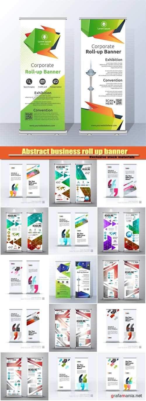 Abstract business roll up banner vector set, modern stand design template