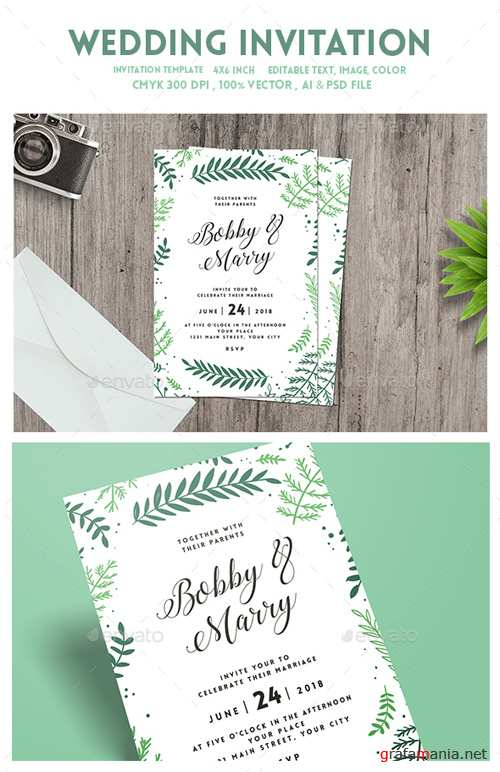 Green Floral Wedding Invitation 19172934