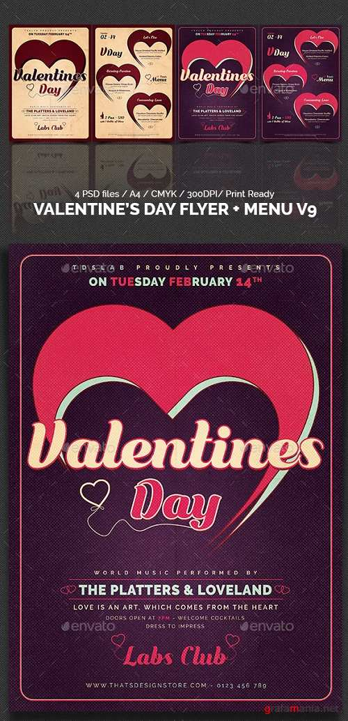 Valentines Day Flyer + Menu Templates V9 19308785
