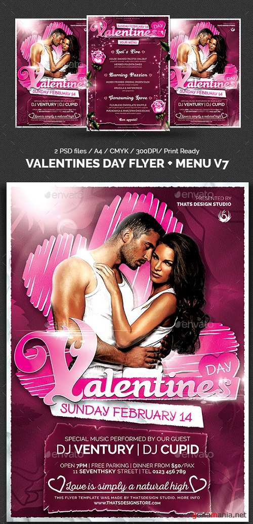 Valentines Day Flyer + Menu Bundle V7 14427136