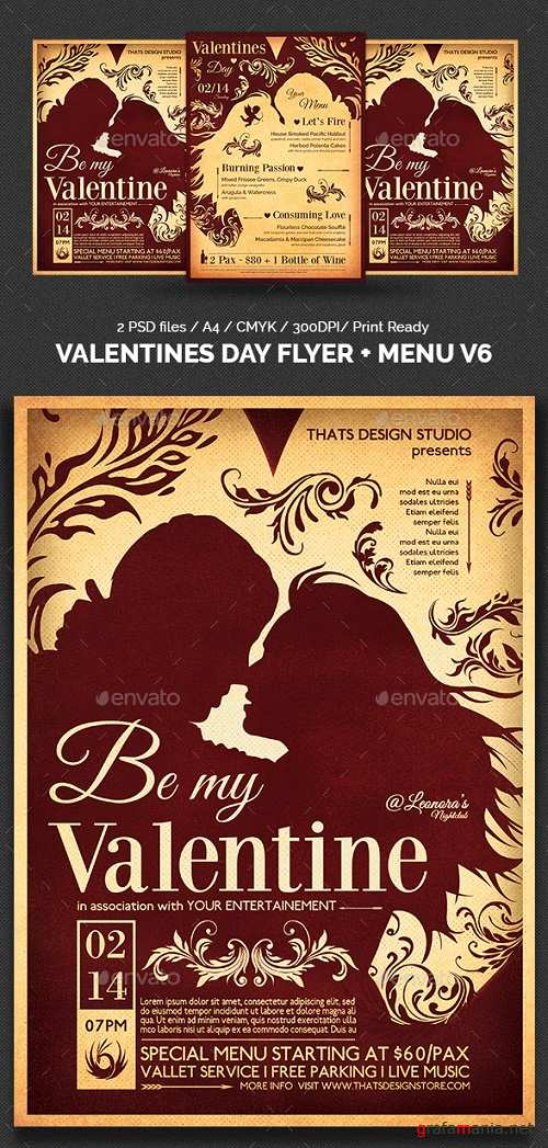 Valentines Day Flyer + Menu Bundle V6 14417482