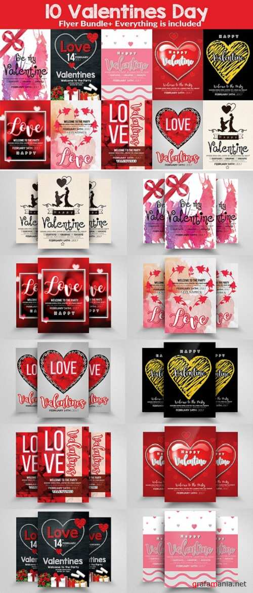 10 Valentines Party Flyer Bundle - 1173627