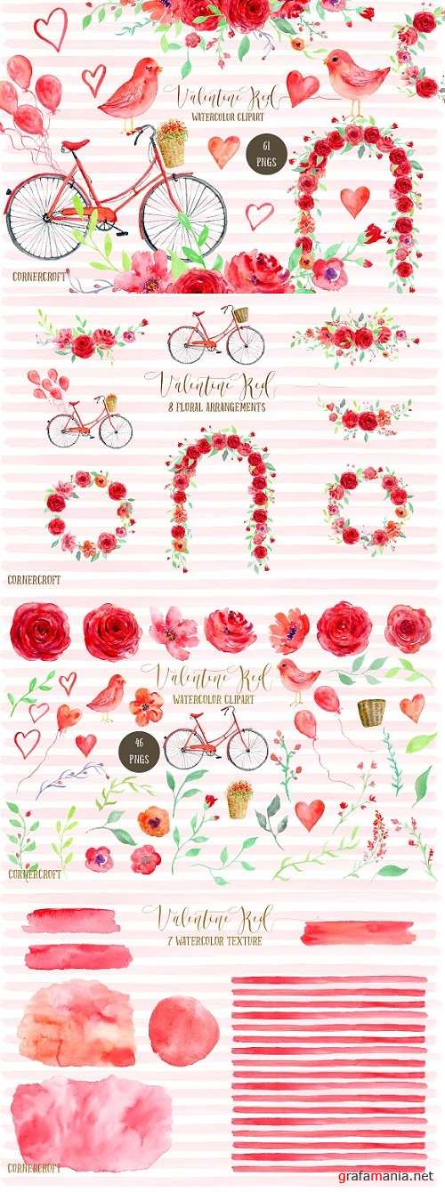 Watercolor Clipart Valentine Red 1164840