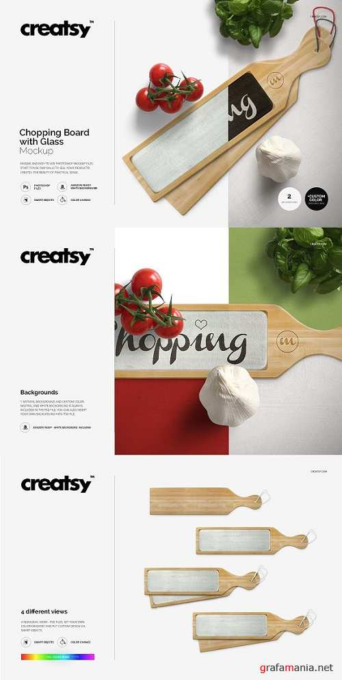 Chopping Board with Glass Mockup Set 1173094