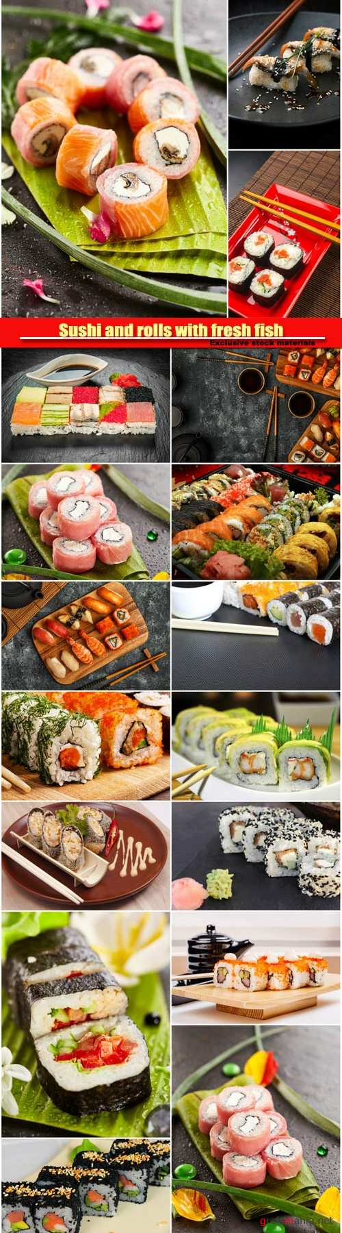Sushi and rolls with fresh fish, cuisine with fresh seafood