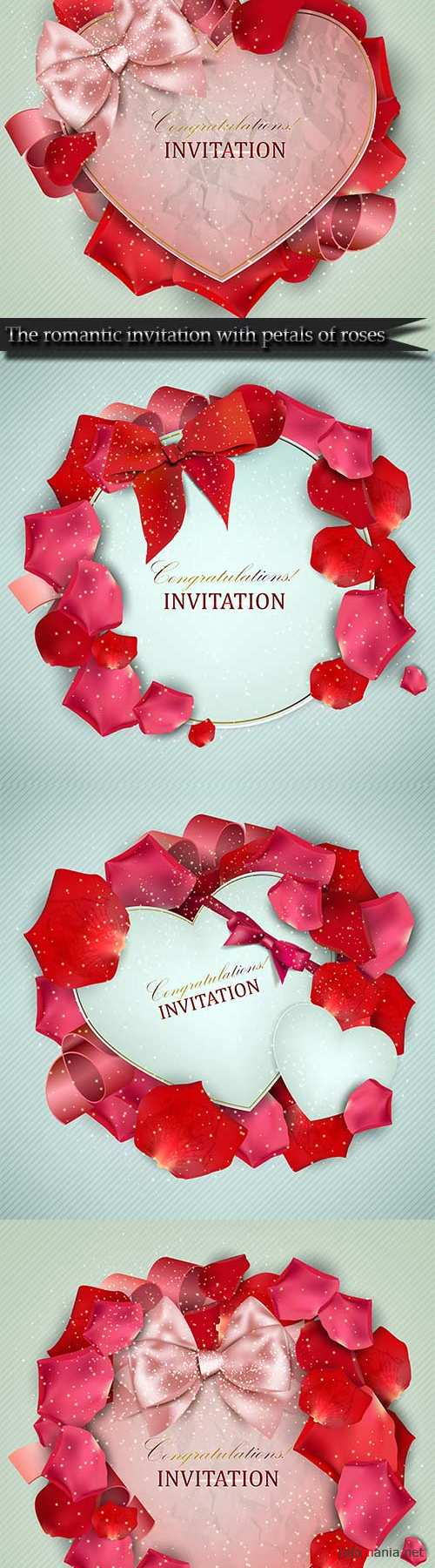 The romantic invitation with petals of roses
