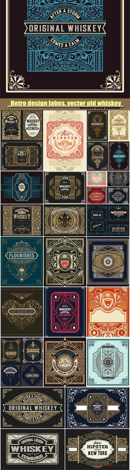 Retro design labes, vector old whiskey label