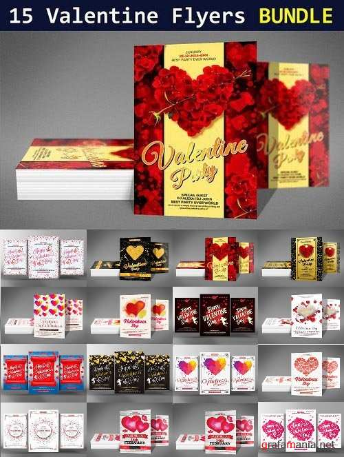 15 Valentines Day Flyers Bundle 1207667
