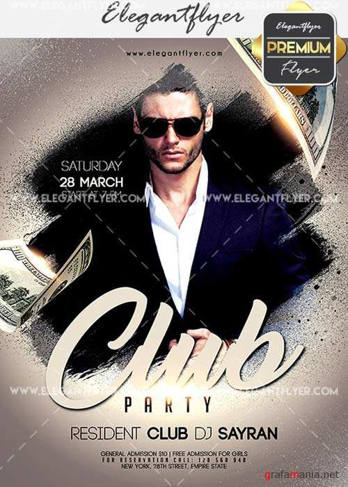 Club Party V03 Flyer PSD Template + Facebook Cover