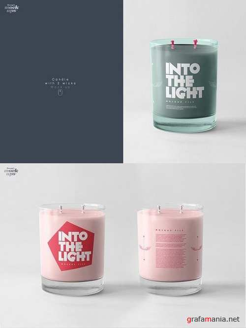 Candle with 2 wicks Mockup 949092