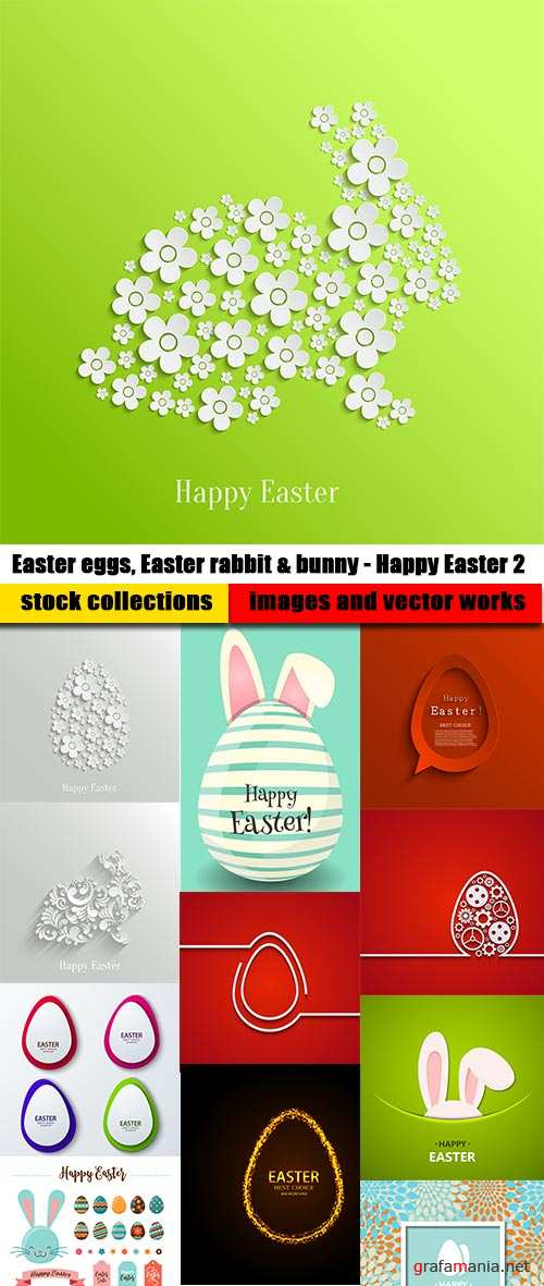 Easter eggs, Easter rabbit & bunny - Happy Easter 2 - Set of 20xEPS Professional Vector Stock