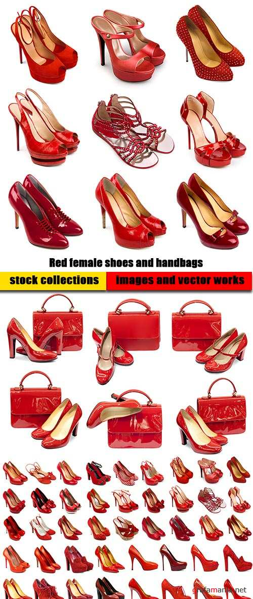 Red female shoes and handbags - 6xUHQ JPEG Photo Stock