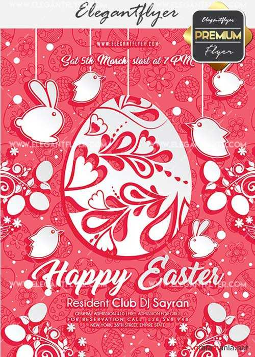 Happy Easter Flyer PSD V11 Template + Facebook Cover