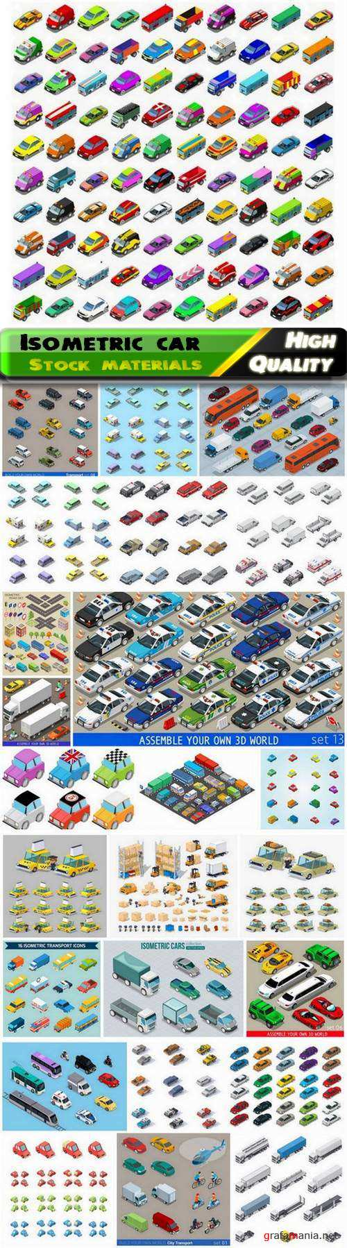 Isometric cartoon car tanker truck and other city vehicles 25 Eps