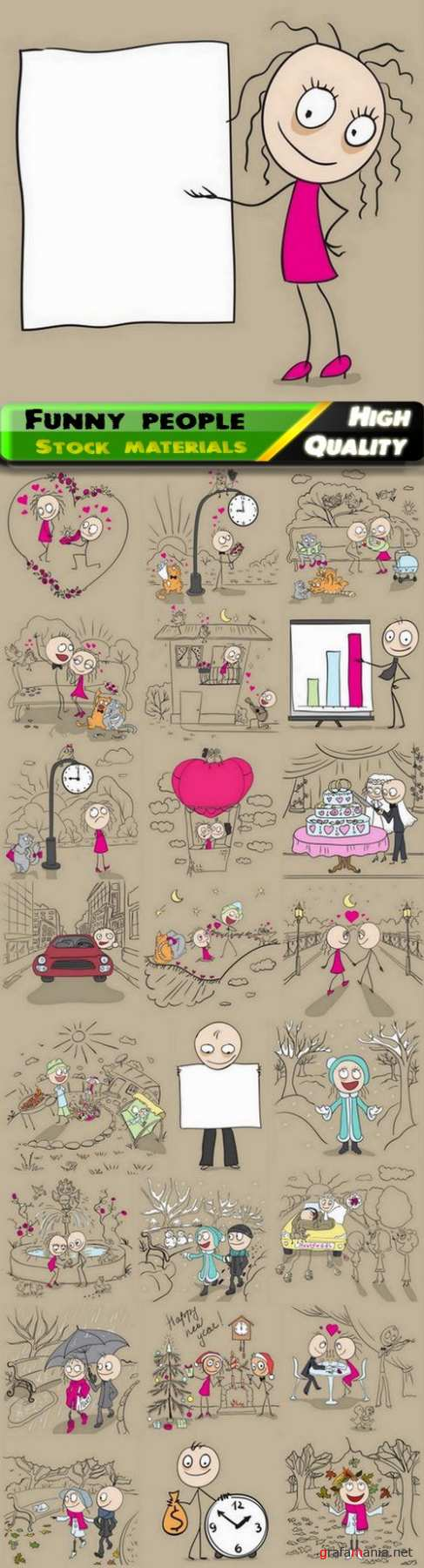 Funny man and woman couple hand drawn sketch 25 Eps