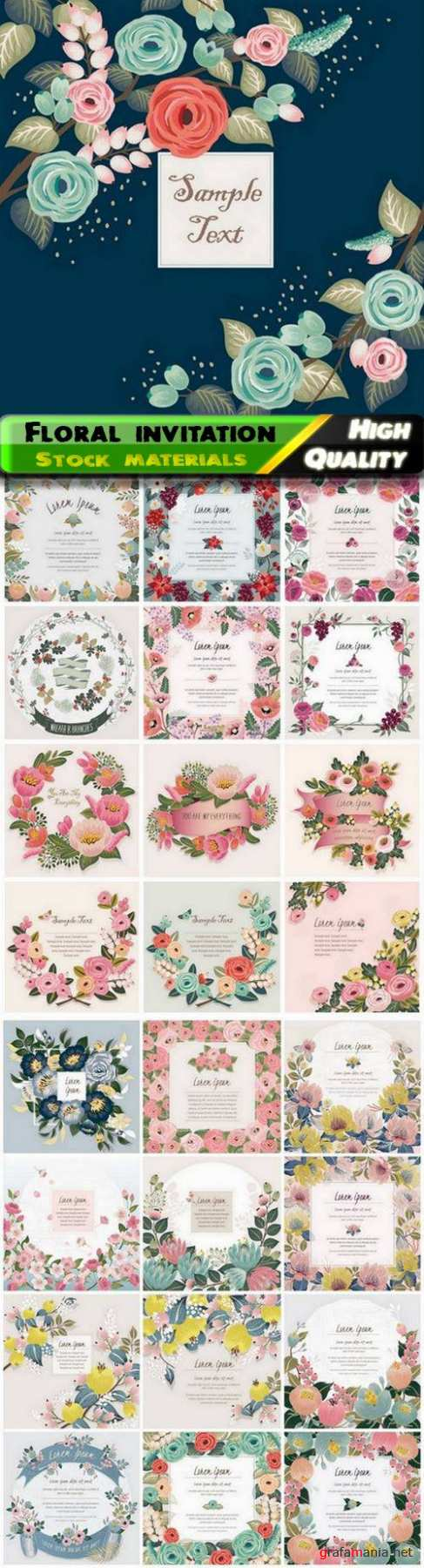 Floral wedding invitation card with wild flowers and leaves 25 Eps