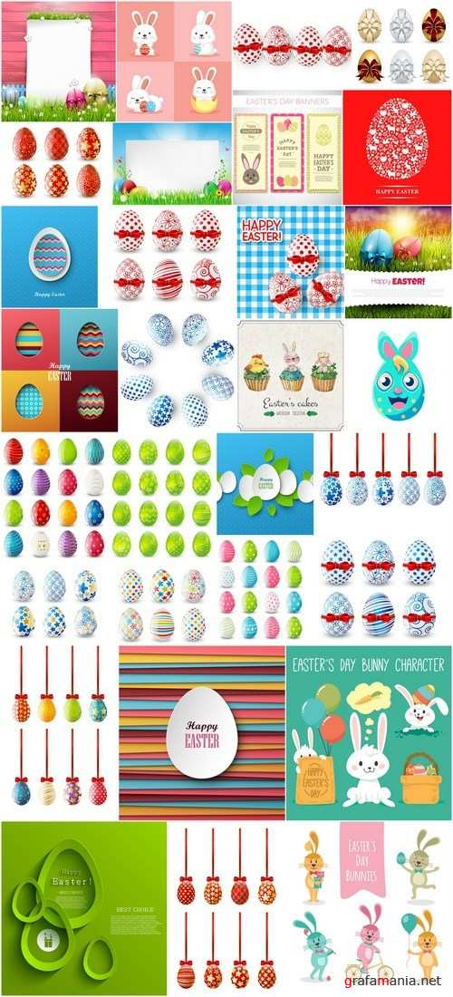 Easter eggs, Easter rabbit & bunny - Happy Easter 3 - Set of 30xEPS,AI Professional Vector Stock