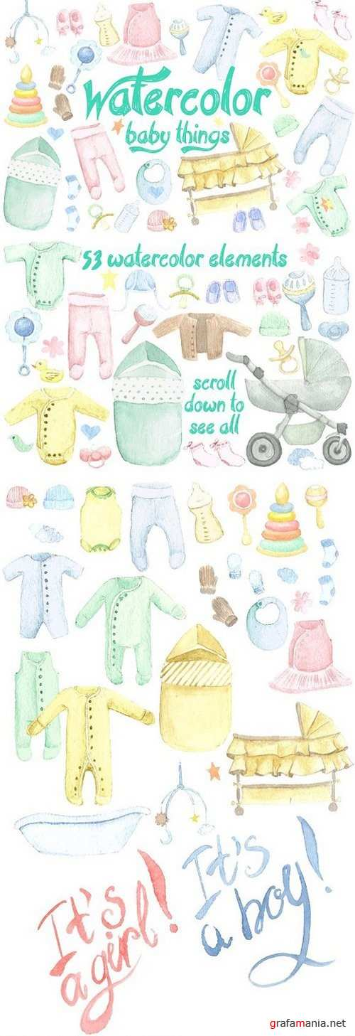 Watercolor Baby Things Set 1212654