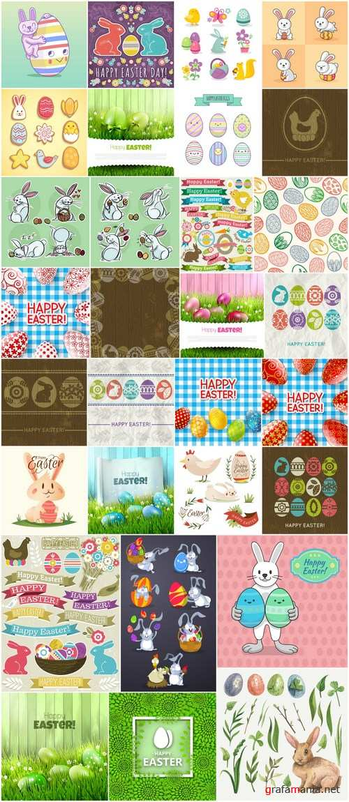 Easter eggs, Easter rabbit & bunny - Happy Easter 5 - Set of 30xEPS,AI Professional Vector Stock