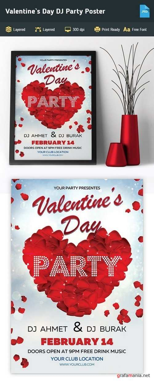 Valentine`s Day DJ Party Poster - 1233132