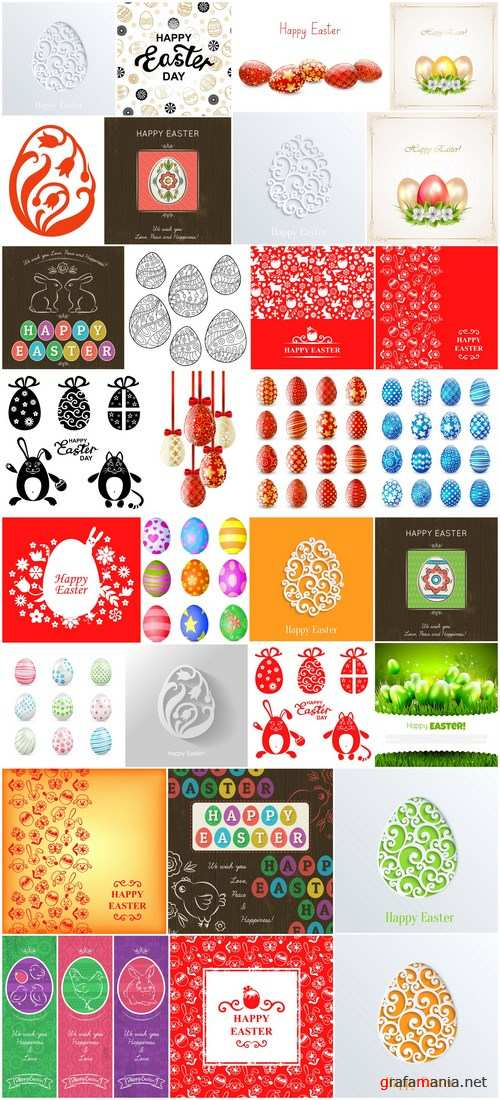 Easter eggs, Easter rabbit & bunny - Happy Easter 6 - Set of 30xEPS,AI Professional Vector Stock