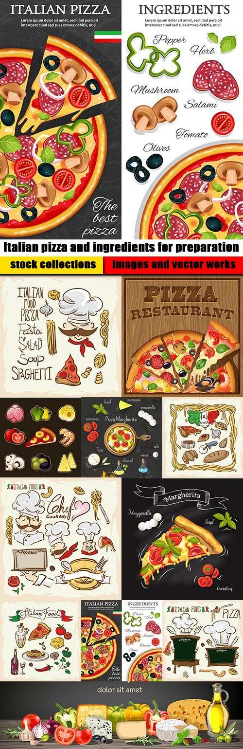 Italian pizza and ingredients for preparation