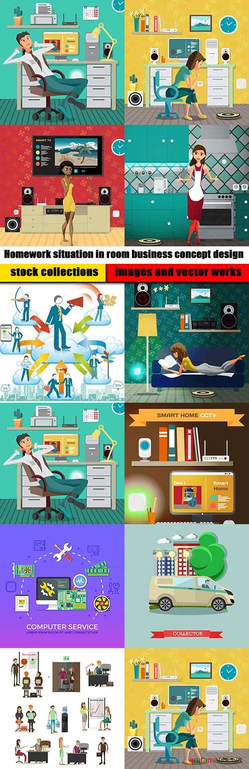 Homework situation in room business concept design