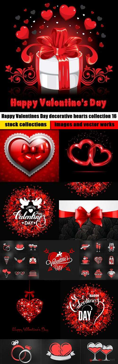 Happy Valentines Day decorative hearts collection 16