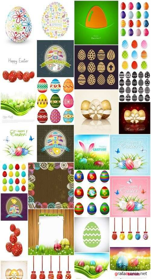 Easter eggs, Easter rabbit & bunny - Happy Easter 7 - Set of 30xEPS,AI Professional Vector Stock