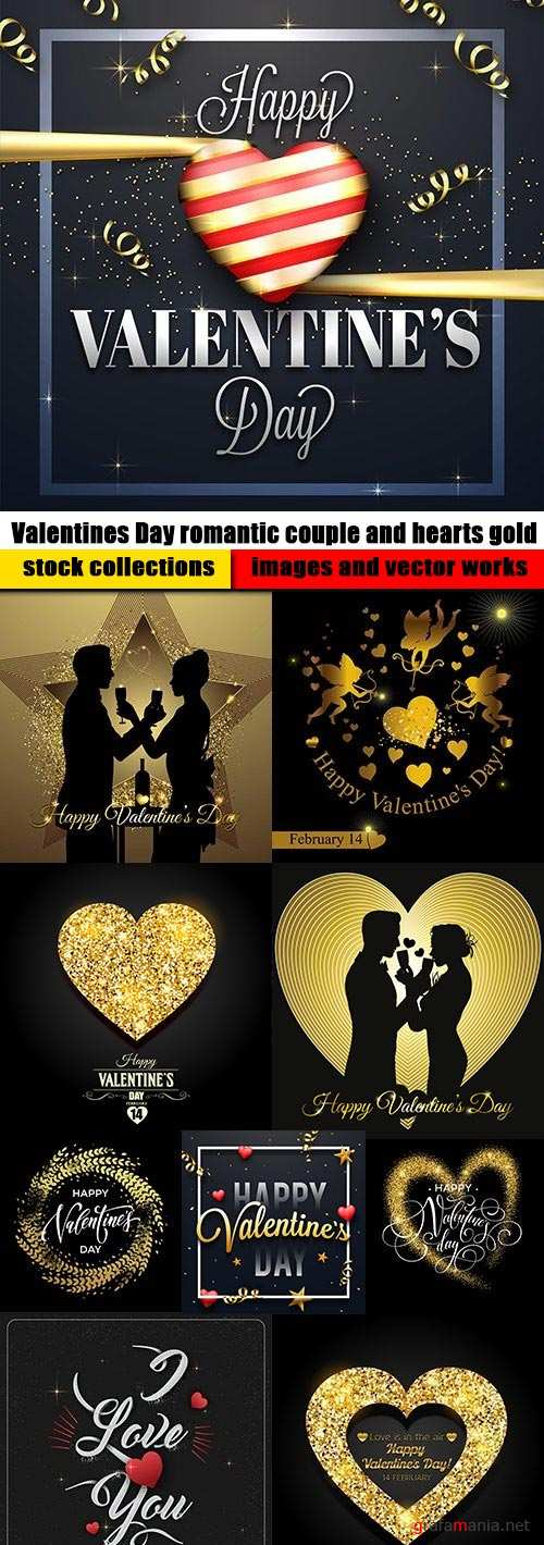 Valentines Day romantic couple and hearts gold