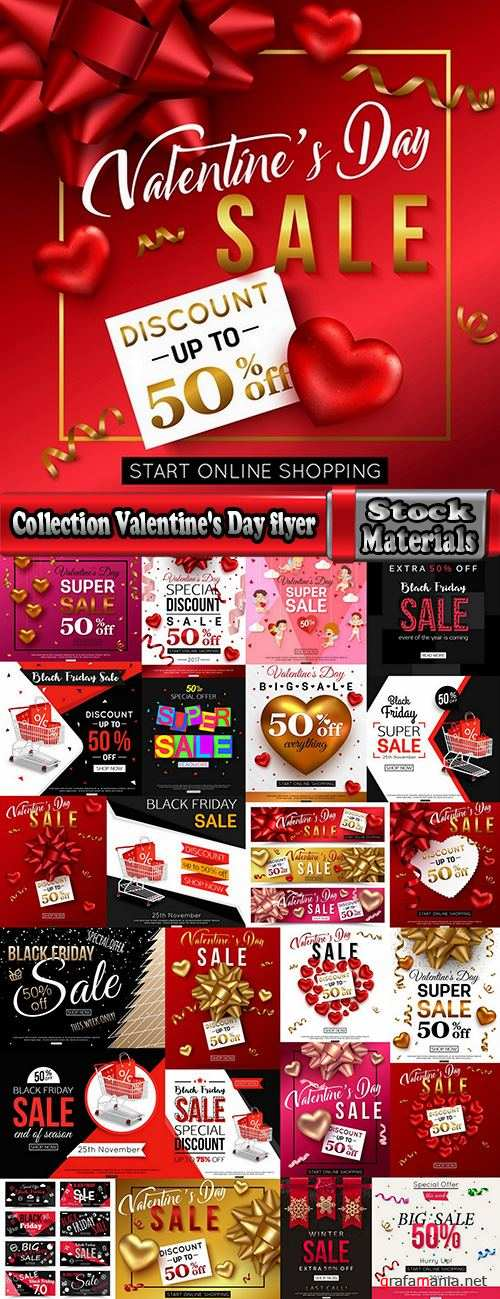 Collection Valentine's Day flyer banner Black Friday discount sale vector image 25 EPS