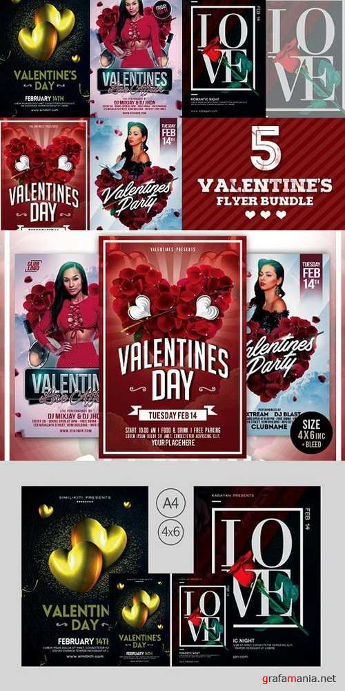 5 in 1 Valentines Day Flyer Bundle - 1247371