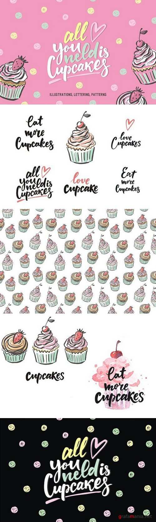 Cupcake pattern, lettering, cards - 1226937