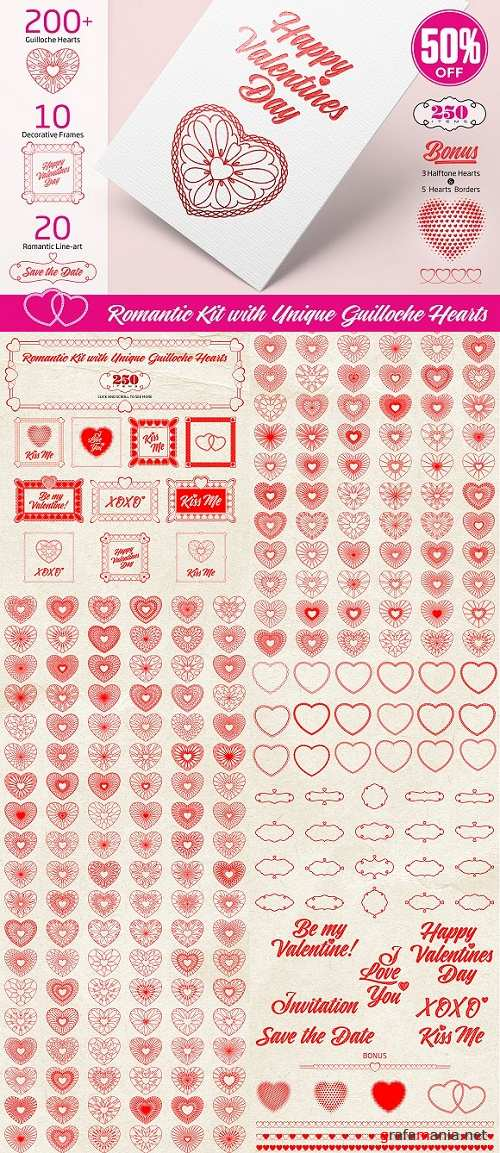 Romantic Kit with Guilloche Hearts - 1222938