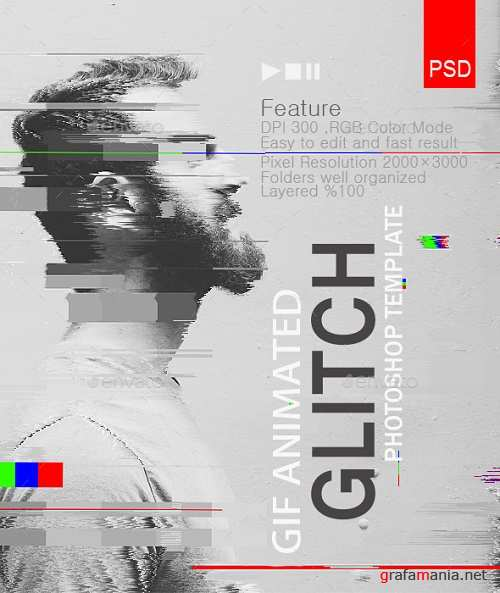 Gif Animated Glitch Photoshop Templates 19400680