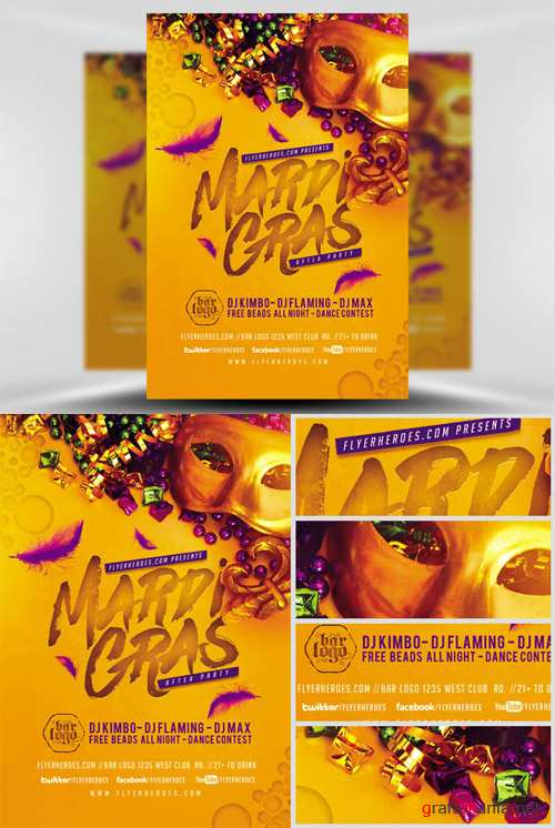 Flyer Template - Mardi Gras After Party
