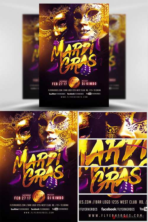 Flyer Template - Gold Mask Mardi Gras