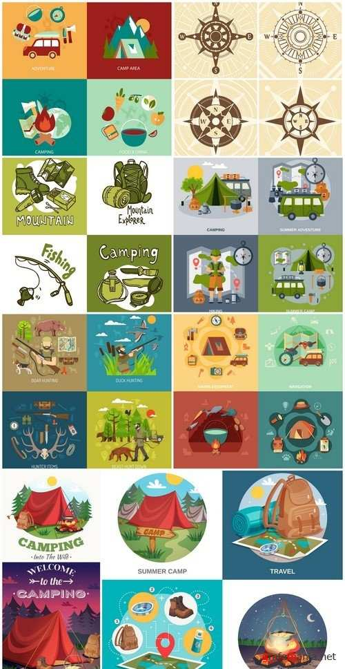 Camping flat icons set 9X EPS