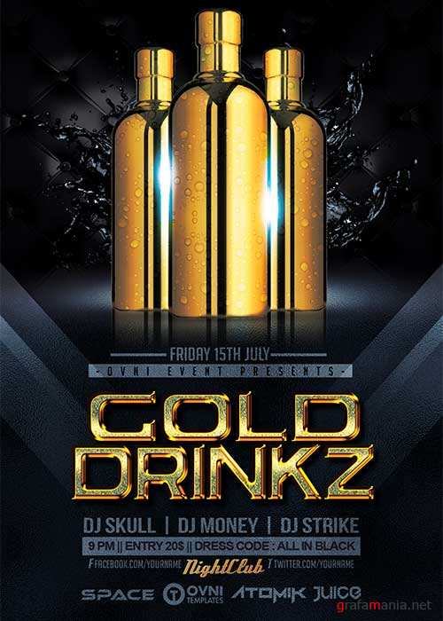GOLD DRINKZ V23 Flyer Template