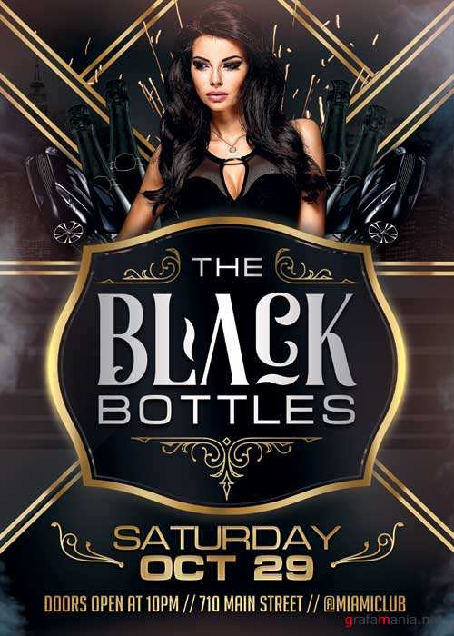 Black Bottles Party V10 Flyer Template