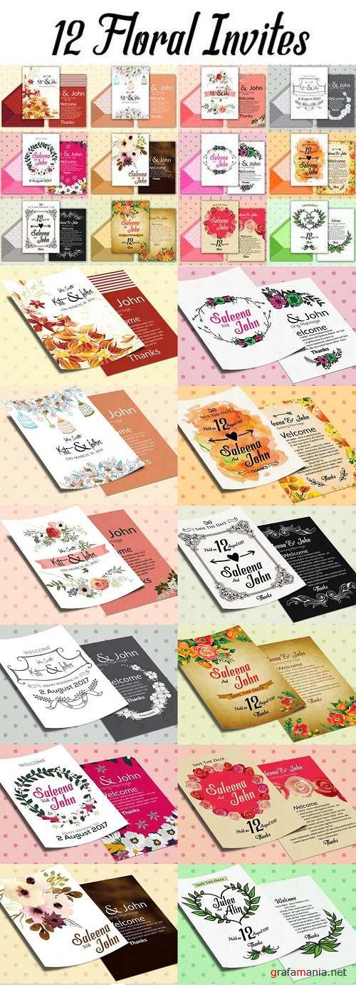 12 Double Sided Invitation Cards 1227745