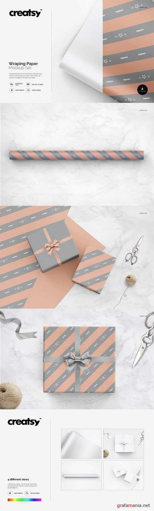 Wrapping Paper Mockup Set 1254428