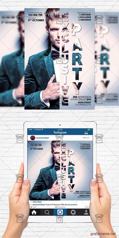 Flyer Template+Instagram Size Flyer - Exclusive Party
